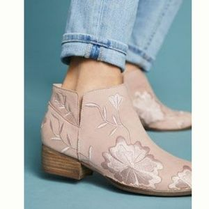 Nude Floral Booties size 7-7.5 from Anthro